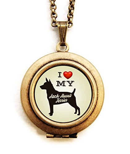 Jack Russell Maltese (Dearest Mine Women's Brass Plated Dog Breed Silhouette Petite Locket Necklace 18 inches (Jack Russell Terrier))