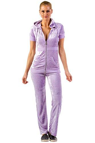 Vertigo Paris Women's Short Sleeve Logo Velour Tracksuit Jog Set - Purple - Large