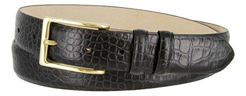 Italian Alligator Leather Grain - Adam Gold Men's Genuine Italian Calfskin Leather Dress Belt (42, Alligator Black)