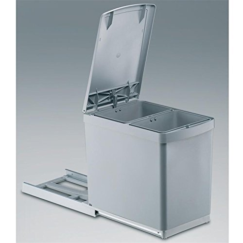 Wesco 30DT Built-In Rubbish Bin Pull-Out Automatic Lid Lever 2 Compartments Capacity 15 L Grey
