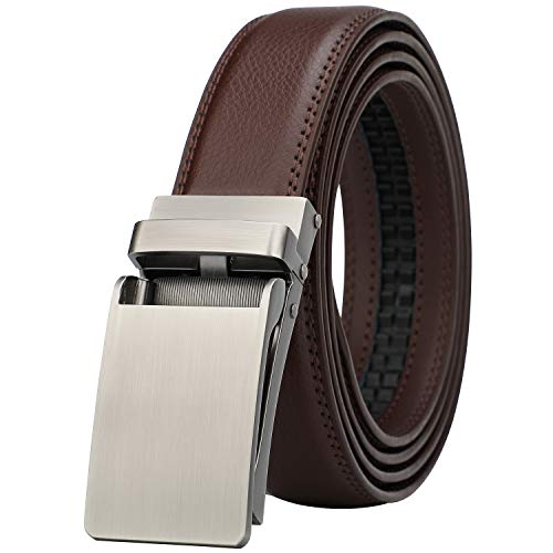 Men's Comfort Genuine Leather Ratchet Dress Belt with Automatic Click Buckle (Suit Pant Size 28