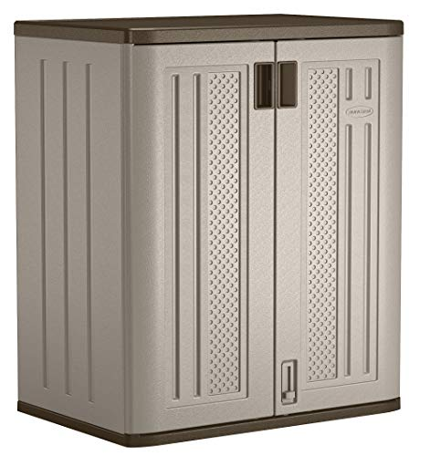Suncast Base Storage Cabinet-Resin Construction Storage-36 Garage Organizer with Shelving Holds up to 75 lbs. -Platinum Doors & Slate Top, -