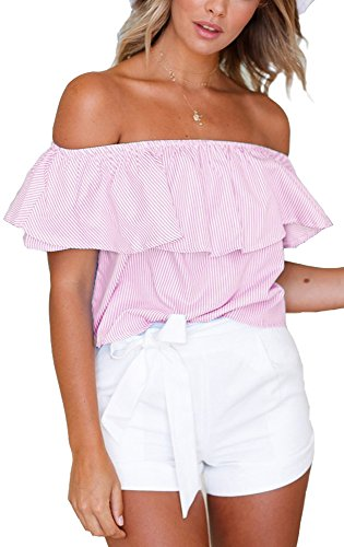 (just quella Women's Off The Shoulder Off Collar Short Sleeve Crop Top 9139 (S, Pink Stripe))