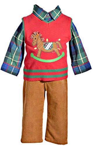(Bonnie Jean 3 Piece Christmas Sweater Vest Pants Set with Rocking Horse 18 Months)