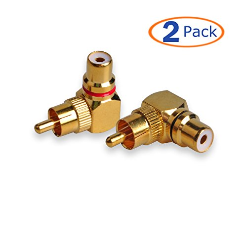 Scratch Resistant Dvd (Conwork 2-Pack RCA Male to Female 90 Degree Right Angle Plug Adapters M/F Gold-Plated Connector)
