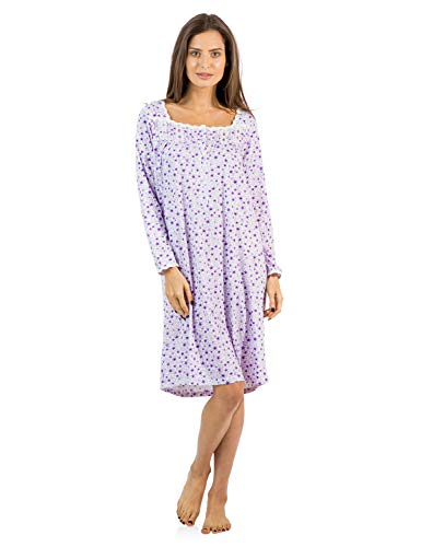 (Casual Nights Women's Square Neck Long Sleeve Floral Nightgown - Floral/Purple - XX-Large)
