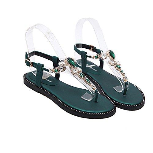 Mujeres Verano Bohemia Sandaliasde Verano, Bohemio Taladro, Sandalias, Zapatos de Verano, Cuero de la PU, Siete Colores, Flash Fashion Womens Sandals Size 35-40 Verde