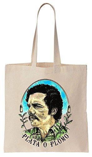 PLATA O PLOMO Pablo Escobar Portrait Sacchetto di cotone tela di canapa