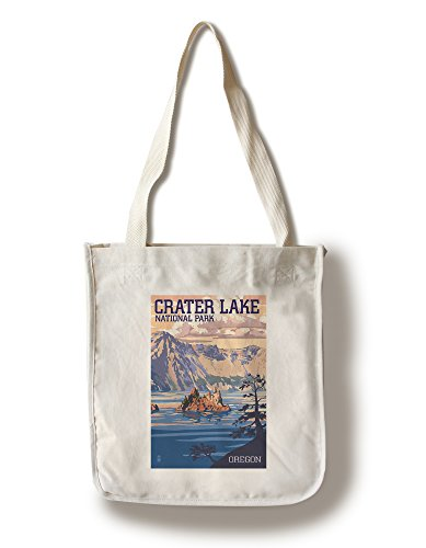 (Lantern Press Crater Lake National Park, Oregon - Shoreline and Sunset (100% Cotton Tote Bag - Reusable))