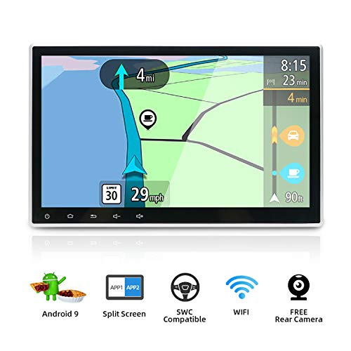 Android 9.0 Double Din Car Stereo Head Unit Radio/ 10.1 inch Octa Core 2G+32G/ Adjustable Viewing Angle/ Support Sat Nav Bluetooth GPS WIFI Steering Wheel 1080P Video (With DVD/CD)/ Free Backup Camera