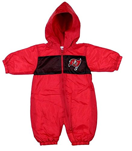 Tampa Bay Buccaneers NFL Baby Hooded Wind Coveralls, Red (6-9 Months, - Red Football Embroidered Jersey