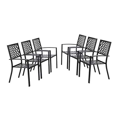 PHI Villa Metal Patio Outdoor Bistro Dining Chairs Set of 6 with Arms – Black Support Stackable