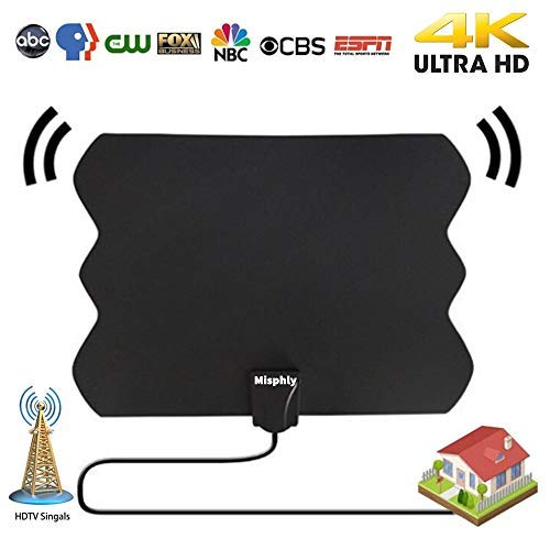 TV Antenna Indoor,HDTV Antenna for Digital TV Indoor Long 60-80 Miles Range Upgraded Dightal HDTV Antenna with Amplifier TV Signals High Reception High Definition Antenna for TV 4K 1080P Channels Free
