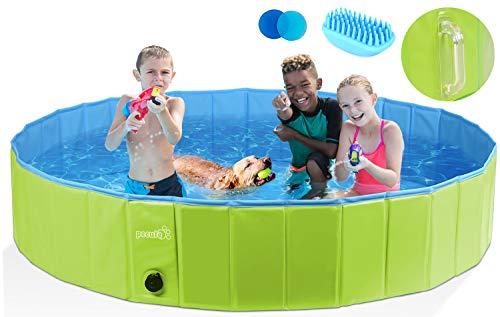 pecute Hundepool Schwimmbad für Hunde und Katzen(160 * 30 cm),Swimmingpool Hund Planschbecken Hundebadewanne Faltbarer…
