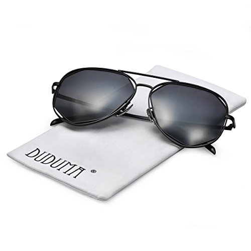 ff49a40acab5d Duduma Fashion Aviator Sunglasses with Flat Lens Metal Frame for Women and Men  0713