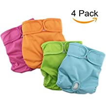 "Grand Line Female Washable Reusable Diapers For Dogs and Cats Diapers For Waist 9"" - 13"" Pack of 4"