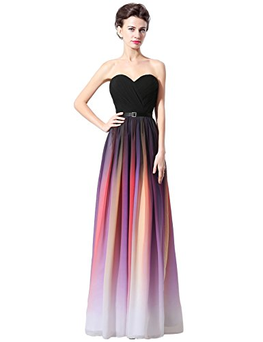 Abendkleid Damen Brautjungfer Bandage SD315 UK8 Farbverlauf Chiffon Formale Kleid Clearbridal Maxikleid dPZwtqP