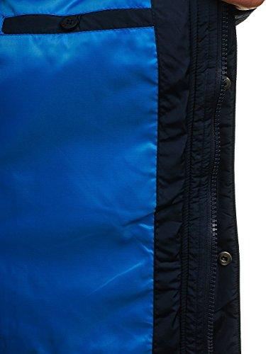 Hombre Estilo De Forro con Parka Elevado Cuello Azul Invierno Cálido Chaqueta Capucha 1658 4D4 BOLF Oscuro Diario AqxPdRR