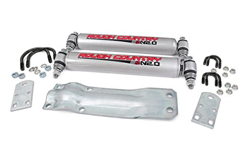 Rough Country - 87356.20 - Dual Steering Stabilizer w/ Premium N2.0 Shocks Country Dual Steering Stabilizer