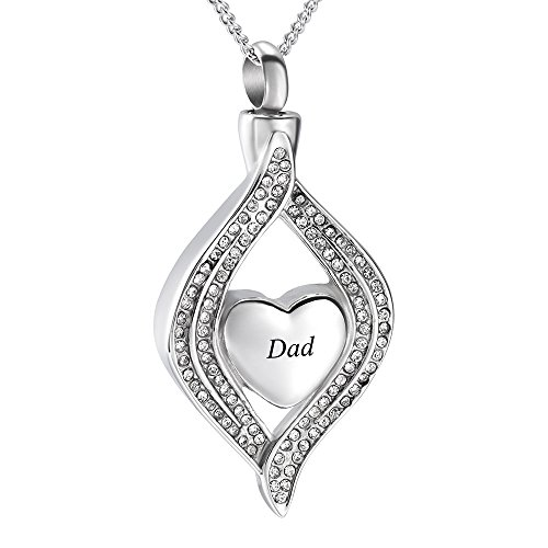 Crystal Inlay Heart Eye Cremation Urn Necklace Ashes Keepsake Pendant Memorial Jewelry+Fill Kit (Dad)