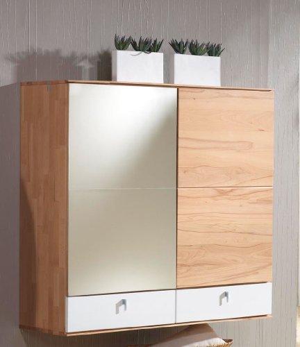Bienenmuehle Vado Hängeschrank mit 2 Schubkästen, 1 Spiegel- und 1 Holztür mit je 1 Einlegeboden, tip on-Beschlag in Kernbuche vollmassiv - Seidenweiss Hochglanz