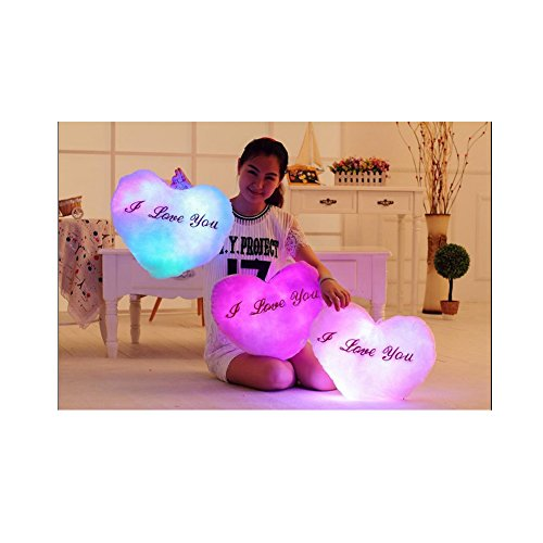 HBOS Creative Glowing LED Night Light Twinkle Heart Shape Plush Pillow Stuffed Toys with LED Night Light