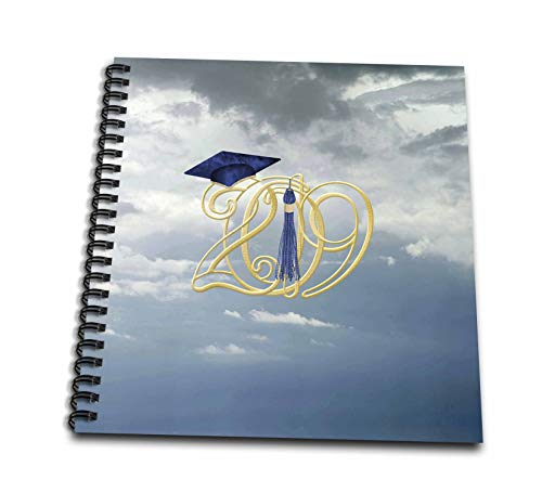 3dRose Beverly Turner Graduation Design - Intertwining 2019 with Graduation Cap and Tassel in The Clouds, Blue - Memory Book 12 x 12 inch (db_301992_2)
