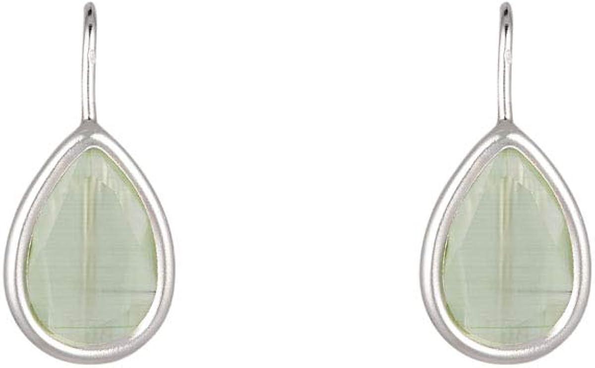 Córdoba Jewels | Pendientes en plata de ley 925 con piedra semipreciosa diseño Lágrima Hippie Jade Silver