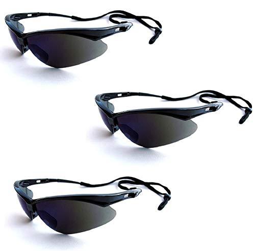 Jackson Safety V30 25688 Nemesis Safety Glasses 3000356 (3 Pair) (Black Frame with Smoke Mirror ()