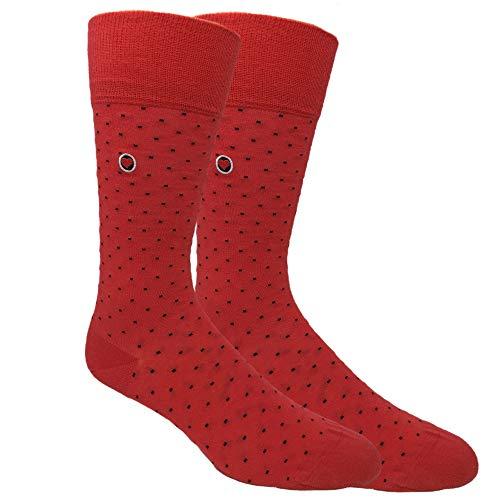 Biz Dots Red Men's groomsmen wedding organic cotton dress socks polka dots patterned - Love Sock Company