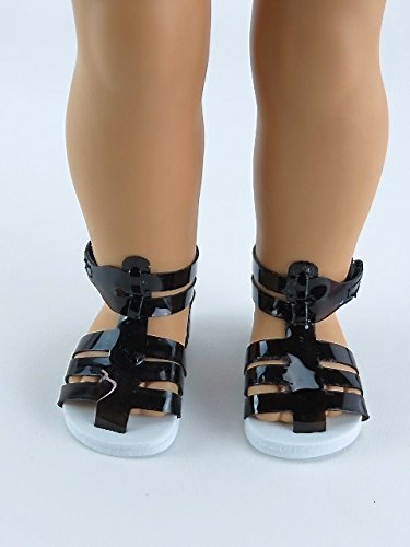 Black Jelly Strap Sandals for 18