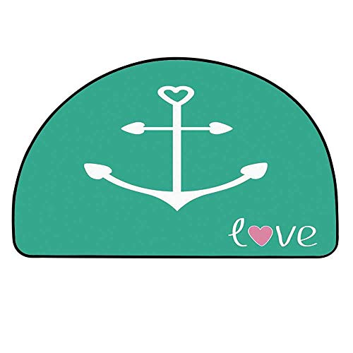 (YOLIYANA Anchor Entry Mat Rugs,Anchor with Heart Shapes Sailor Mariner Romance Love Move on Better Future Art for Front Door,33.4