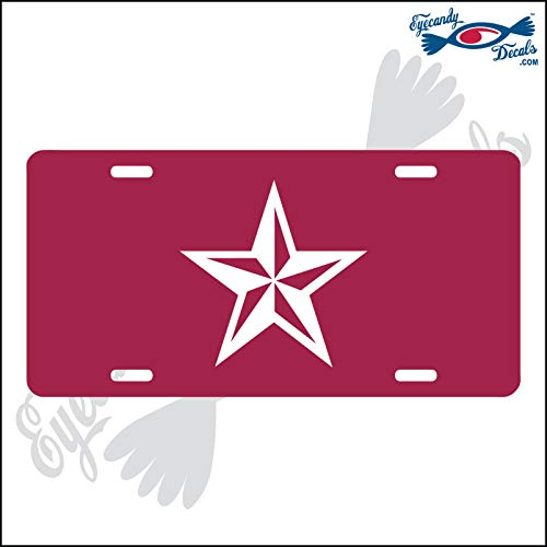 (Eyecandy Decals Nautical Star White on a Dark Red Acrylic Mirror License Plate)
