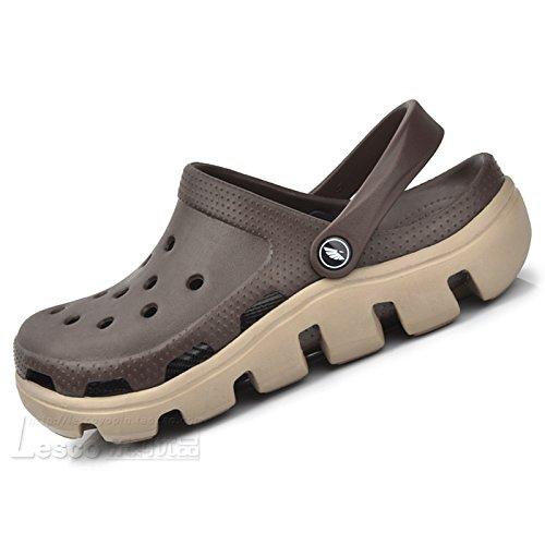 Xing Lin Sandales En Cuir Le Nouveau Trou Trou Chaussures De Plage Chaussures Chaussures Hommes Couple DÉtudiant De LÉté Code Grand Baotou Sandales Chaussons Épais = 39 245Mm Long, Café.