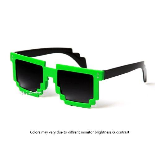 Block 8-bit Pixel Sunglasses Video Game Geek Party Favors (Green, -