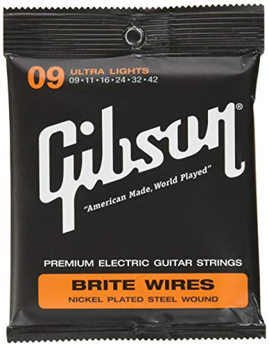 Gibson Brite Wires Electric Guitar Strings, Ultra Light 9-42