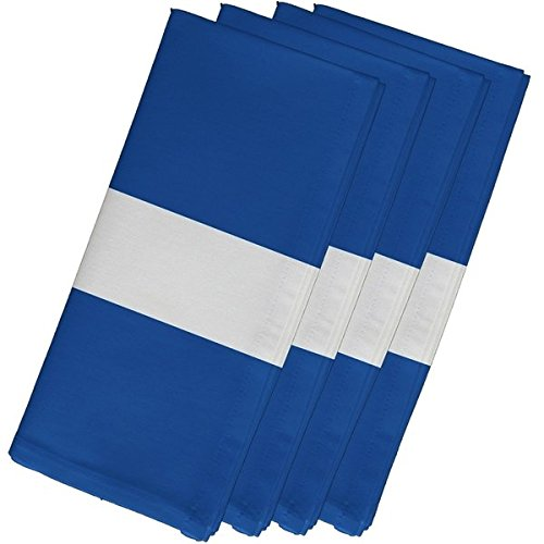 4 Piece Blue Napkin (19''), Contemporary Style, Cotton Material, Stripe Pattern, Decorative Table Top Napkin Type, Horizontal Single Stripes, Suitable For Everyday, Special Occasions, Dark Sky Blue by Patriot