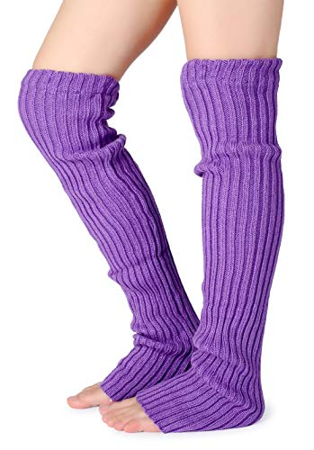 Pareberry Women's Winter Over Knee High Footless Socks Knit Warm Long Leg Warmers (Purple)
