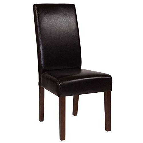 Flash Furniture Greenwich Series Brown Leather Parsons Chair