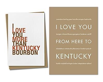 2-piece Kentucky Gift Set: One 5x7 Tan Art Print and One Kentucky Bourbon Greeting Card