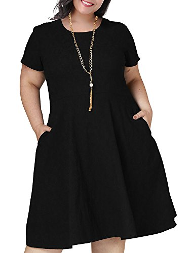 Nemidor Women's Soild Short Sleeve Plus Size Fit and Flare Casual Dress with Pocket (Black, 20W)