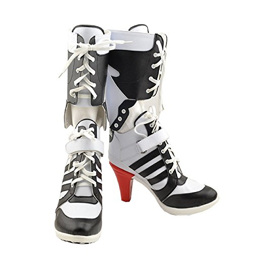 Harley Quinn Shoes (Womens Cosplay Halloween White PU Pleather Shoes High Heel Boots 3.6 incehs (Female US 8))