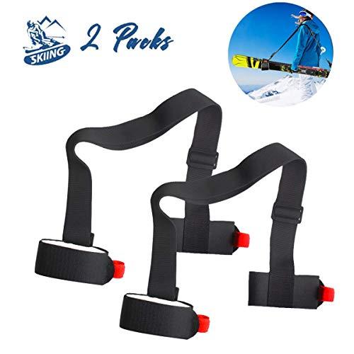 Byhoo Shoulder Ski Carrier Straps Sling with Cushioned Holders, 2 Pack Adjustable Ski Shoulder Lash Handle Straps Can Also Hold The Ski Pole Free Hands