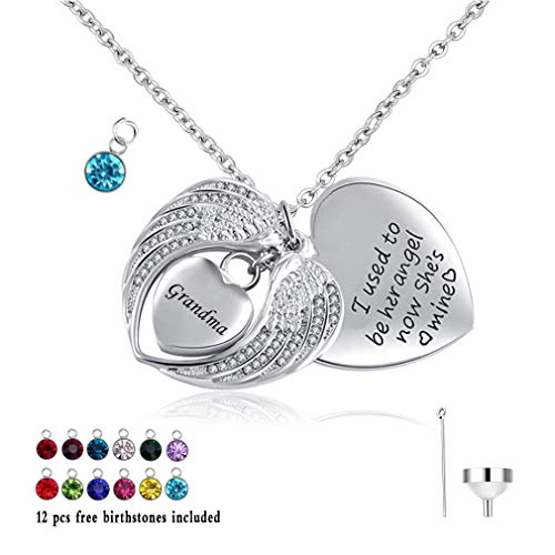 HQ I Used to be his/her Angel, Now He's/She' Mine - 12 pcs Birthstone Cremation Urn Jewelry Heart Necklace Angel Wings Pendant for Ashes w/Funnel Filler Kit (Grandma) ()