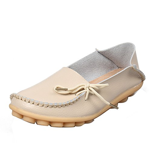 Driving Shoes Faux Gaorui Beige Loafers Leather Flat Moccasins Women Casual Comfy Work wOvqY6