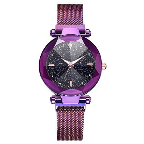 LUXISDE Watch Women Fashion Starry Sky Convex Glass Quartz Mesh with Magnetic Buckle Ladies Watch Purple