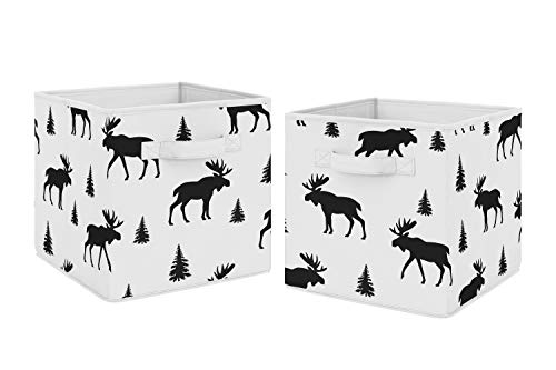 (Sweet Jojo Designs Black and White Woodland Moose Organizer Storage Bins for Rustic Patch Collection - Set of 2)