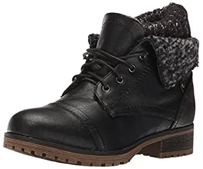 REFRESH WYNNE-01 Womens Combat Style Lace Up Ankle Bootie Black 5.5