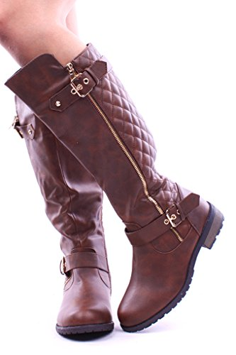 Forever Link FAUX QUILTED LEATHER BUCKLE ZIPPER KNEE HIGH RIDER BOOTS Shoes 7 brown