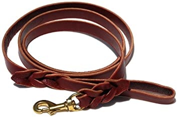 Signature K9 Braided Leather Leash, 6-Feet x 3/4-Inch, Burgundy 322262-BUR